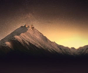 mountains, landscape, and night image
