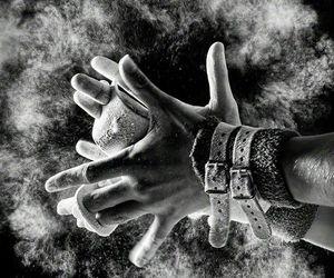gymnastics and black and white image