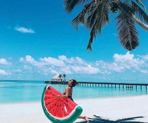 beach, summer, and watermelon image