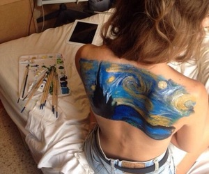 art, starry night, and back paint image