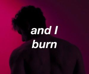 burn, quotes, and red image