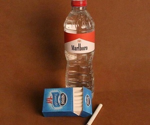 art, blue, and cigarettes image