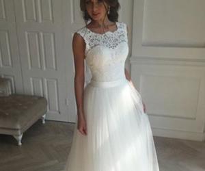 lace wedding dress, wedding dress, and a-line wedding dress image