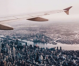city, travel, and airplane image