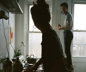 couple, kitchen, and home image