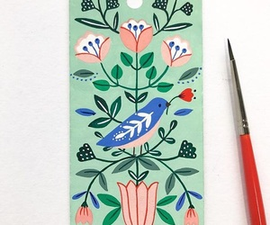 art, bird, and peach image