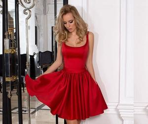 red dress, woman dress, and prom dress image