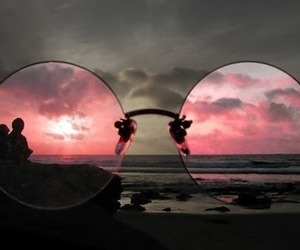 glasses, pink, and beach image