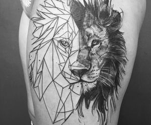 black and white, geometric, and lion image