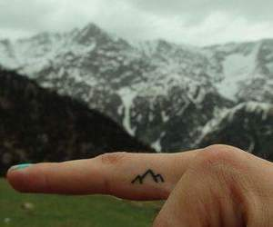 mountains, tattoo, and finger image