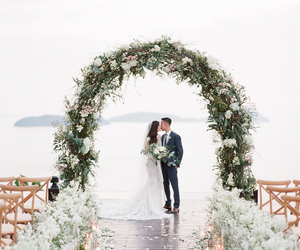 flowers, kiss, and ocean image