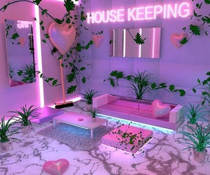 neon, pink, and decor image