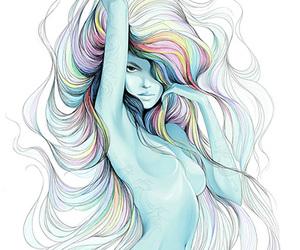 mermaid, art, and blue image