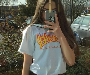 girl, longhair, and thrasher image