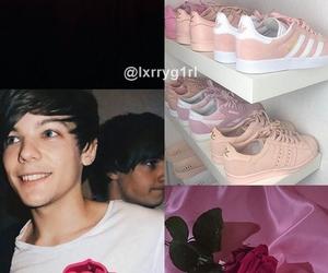 pink, louis tomlinson, and wallpaper image