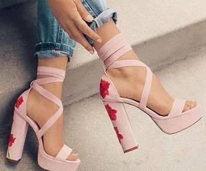 heels, flowers, and pink image