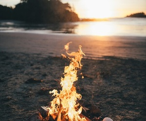 fire, beach, and sea image