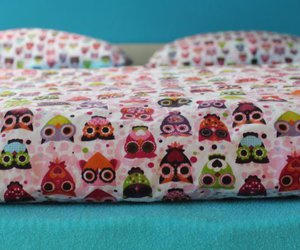 bed, owls, and pink lineň image
