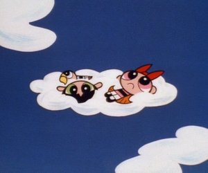 cartoon, powerpuff girls, and clouds image