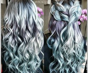 hair, cabello, and metalic baby blue image