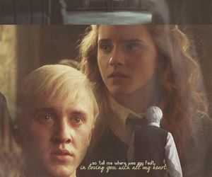 draco malfoy, hermione, and harry potter image