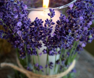 candle, flowers, and pretty image