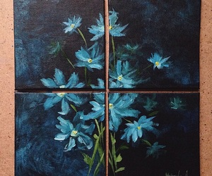 canvas, flowers, and Oil Painting image
