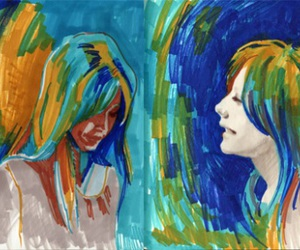 blue, green, and girl image