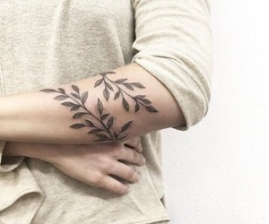 tattoo, leaves, and art image