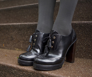black, preppy, and boots image