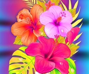 beach, floral, and summer image