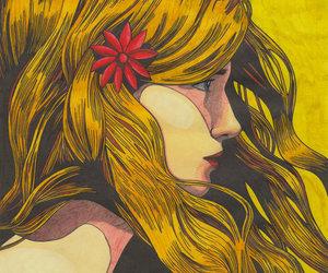 girl, yellow, and art image