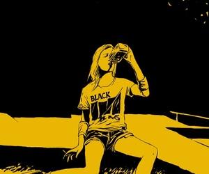 girl, drink, and black flag image