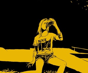 girl, drink, and yellow image