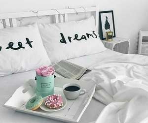 bed, donuts, and morning image