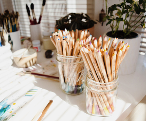 art, atelier, and crayons image