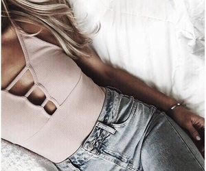 blonde, bodysuit, and girl image