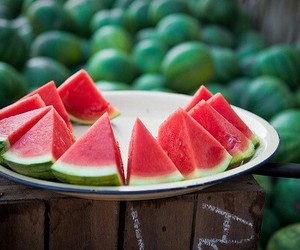 fruit, healthy food, and watermelon image