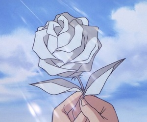 anime, rose, and sky image