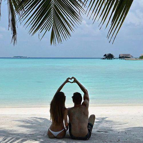 beach, bikini, and couple image