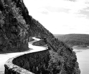 black and white and road image