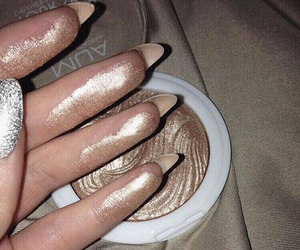 makeup, nails, and gold image