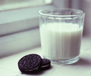 milk, oreo, and food image
