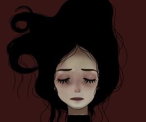 art, black hair, and emo image