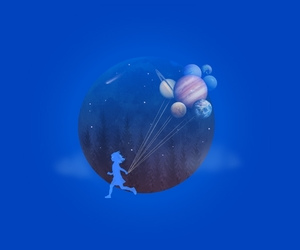 balloons, illustration, and outer space image