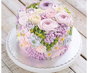 cake, flowers, and b-day image