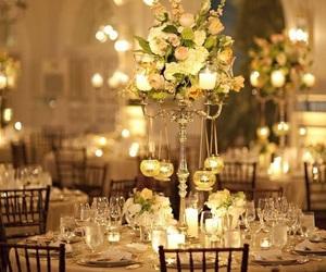 flowers, lights, and wedding image