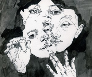 art, face, and black and white image