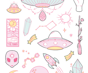 alien, pink, and art image