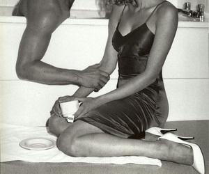 bathtub, black and white, and couple image